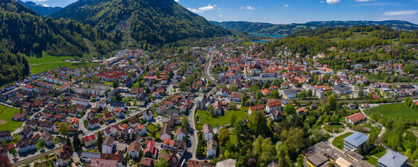 Aerial view of the city Immenstadt im Allgäu in Germany, Bavaria on a sunny spring day during the coronavirus lockdown.