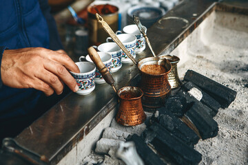 Traditional Turkish charcoal coffee.