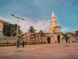 CARTAGENA, COLOMBIA - NOVEMBER 09, 2019: Streets of the old city of Cartagena Cartagena de Indias in Colombia,