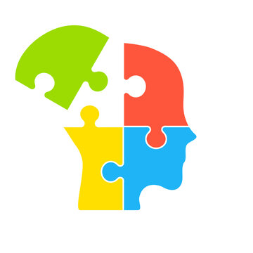 Human mind with a missing jigsaw puzzle piece. Alzheimer's disease and dementia concept. Depression and mental health issues. Confused man asks questions. Amnesia. Vector illustration, flat, clip art