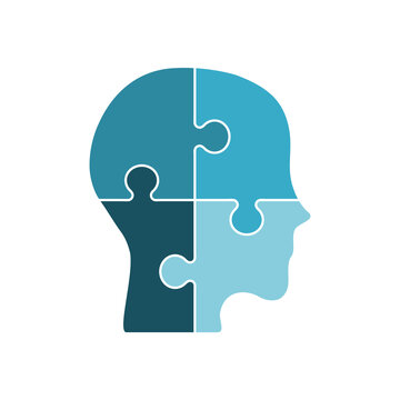Puzzle pieces form a human head. Four blue jigsaw pieces on white background. Infographic template. Depression and mental health issues. Confused man asks questions. Vector illustration, flat,clip art