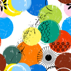 seamless background pattern, with circles/dots, stripes, strokes and splashes