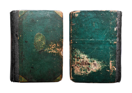 Old Vintage Antique Aged Rarity Green Book Cover Isolated on White. Rough Damaged Shabby Scratched Wrinkled Paper Cardboard Texture. Front View.