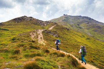 Climb on mountain Pop Ivan. Ukraine, Carpathians, Montenegrin Mountains. 2022 meters.