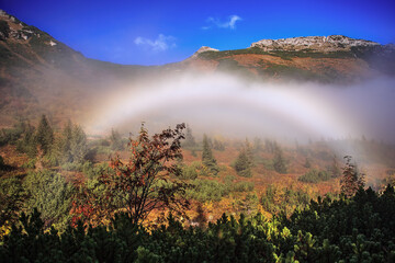 Fog bow in the Polish Tatras, Carpathians
