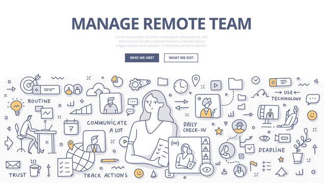 Manage Remote Team Doodle Concept