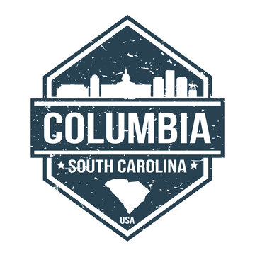 Columbia South Carolina Travel Stamp Icon Skyline City Design Tourism.
