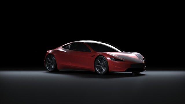 Back Light Electric Sports Car 3d Render in Black Background. Tesla Roadster 2020 Red Car Paint