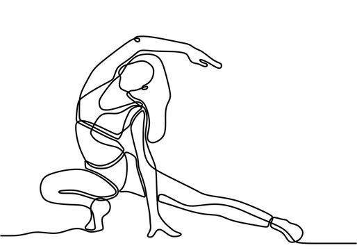 Woman stretching his legs and arms on yoga exercise. Energetic girl doing exercise in yoga continuous one line draw design isolated on white background. Minimalist style vector design illustration