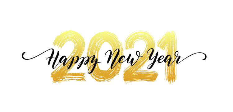 Happy New Year 2021 layout vector with glyter