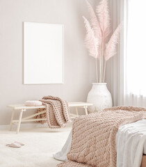 Deurstickers Wanddecoratie met eigen foto Mockup frame in pastel pink bedroom interior background, Scandi-Boho style, 3d render