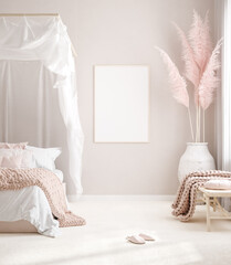 Photo sur Aluminium Pain Mockup frame in pastel pink bedroom interior background, Scandi-Boho style, 3d render