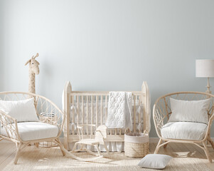 Cozy light blue nursery with natural wooden furniture, 3d render