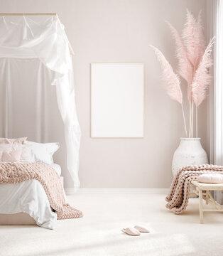 Mockup frame in pastel pink bedroom interior background, Scandi-Boho style, 3d render
