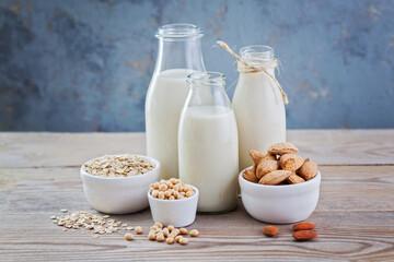 Fototapeta dairy free milk drink and ingredients obraz