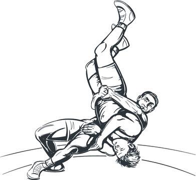 Vector Black and White Freestyle Wrestling Illustration