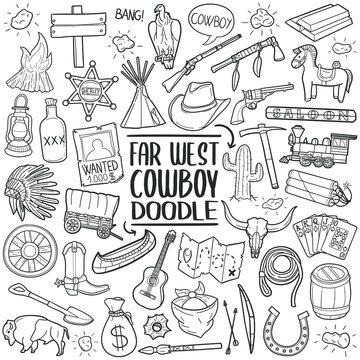 Far West Cowboy Set Line art. Western Doodle vector art design. Sketch traditional illustration.