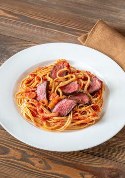 Steak linguine pasta