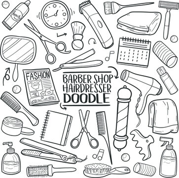 Barber Shop Traditional Doodle Icons Sketch Hand Made Design Vector