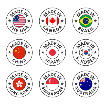 vector icon set made in usa, canada, brazil, china, japan, south korea, hong kong, singapore and australia, world countries flag label stamp