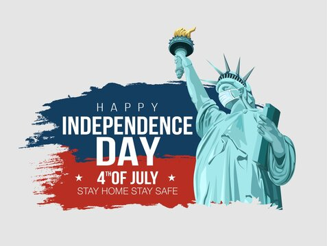 4th of July - happy Independence Day in the United States of America. statue of liberty, a symbol of American freedom, put on a mask so that it would not get infected with the virus. vector