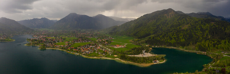 Aerial view of the city Bad Wiessee in Germany, Bavaria on a cloudy rainy spring day during the coronavirus lockdown.