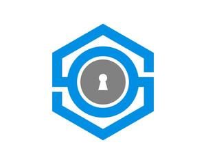 Key hole inside the hexagon line