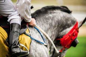 Jockey in White on a Race Horse