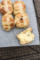 home made hot cross buns