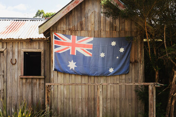 Australian flag on the side of a cabin