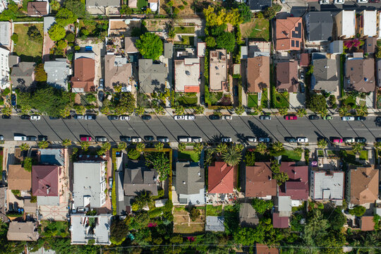 Drone shot from above of Los Angeles neighborhood during sunny day