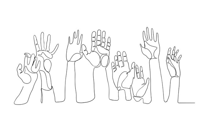 Cheerful crowd cheering illustration. Hands up. Group continuous one line vector drawing silhouette hand drawn characters. hands up vector illustration one line art. hands up one line.