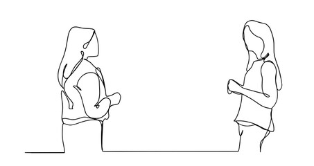 Single continuous line drawing of two woman startup founders have a business talk. Business chat concept one line draw design illustration.