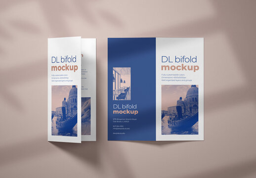 Realistic Bifold Brochure Mockup