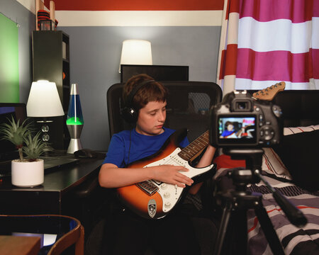 Rock Star Music Boy Recording with Video Camera