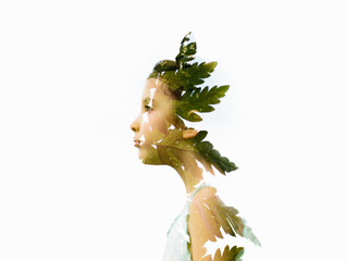 Double exposure of kid and tree leave