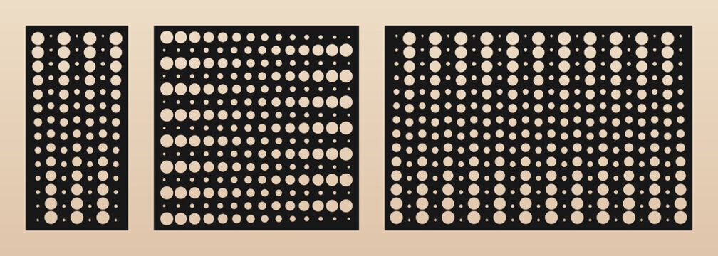 Laser cut panel set. Vector template with modern geometric pattern, halftone dots texture, gradient transition effect, grid, circles. Decorative stencil for laser cutting. Aspect ratio 1:2, 1:1, 3:2
