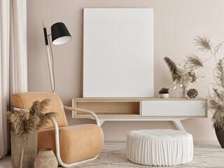 Mockup poster in Living room, natural colors background, 3d render, 3d illustration