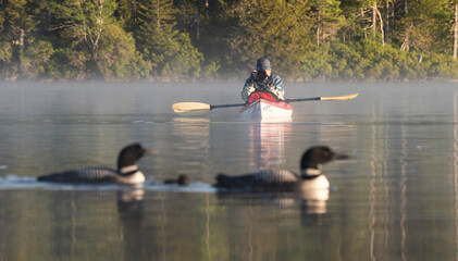 Photographer on a kayak taking pictures of birds