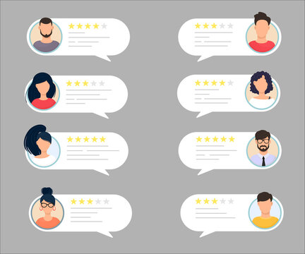 Feedback chat speech bubble with male and female avatar set. Rate the quality system of a five-star rating with a good and bad rating. Assessment concept and rating. Vector illustration.