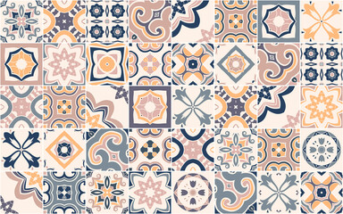 Obraz Seamless pattern with Portuguese abstract, hand-drawn tiles. Vector - fototapety do salonu
