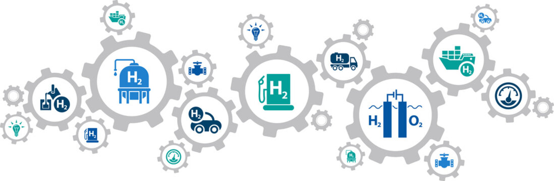 Hydrogen economy vector illustration. Concept with connected icons related to hydrogen use as fuel, in industrial processes, hydrogen storage and transport, renewable or green energy