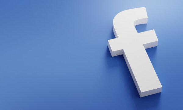 Facebook Logo Minimal Simple Design Template. Copy Space 3D