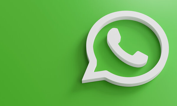 WhatsApp Logo Minimal Simple Design Template. Copy Space 3D