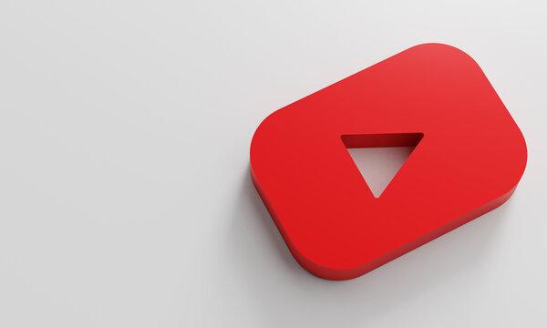 Youtube Logo Minimal Simple Design Template. Copy Space 3D