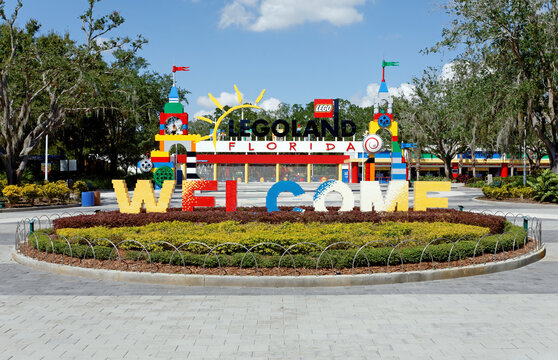 Winter Haven, Florida, USA – October 16, 2013: The main entrance to Legoland Florida. Located in Winter Haven, Florida, Legoland Florida is a theme park based on the popular LEGO brand of building toy
