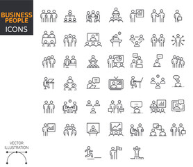 Set of Business People Icon. Stock Vector