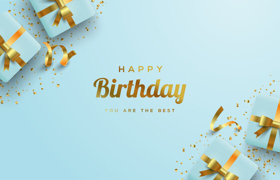 Happy birthday background with soft blue 3d gift box illustrations.
