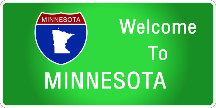 Roadway sign Welcome to Signage on the highway in american style Providing minnesota state information and maps On the green background of the sign vector art image illustration