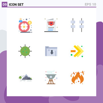 9 Creative Icons Modern Signs and Symbols of server, data, marshmallow, germ, chemistry